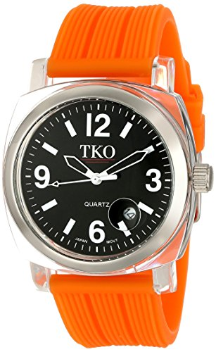 TKO ORLOGI Women's TK558-BO Milano Junior Acrylic Case Black Dial Watch (Dial Orange Juniors)