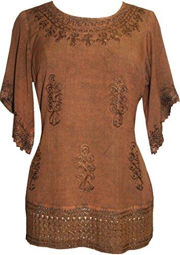 143 B Medieval Rennaissance Peasant Gypsy Ari Lace Blouse Top [Rust; L]