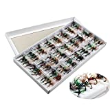 Sougayilang Bass Salmon Trout Colorful Assortment Fly Fishing Flies Pack of 96pcs (Misc.)
