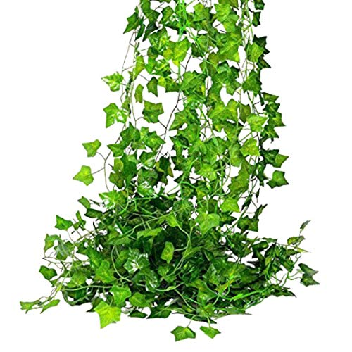 zzJiaCzs Artificial Green Vine,12Pcs Faux Wall Hanging Green Sweet Potato Leaf Vines for Wedding Garden Decor - Green