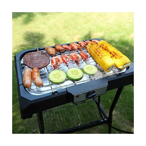 Aigostar Lava Pro - Griglia senza fumo, griglia per barbecue elettrica con piedini e tavolo da esterno. Antiaderente con… 5