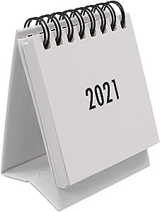 NUOBESTY Desk Calendar 2020 to 2021 Cute Desktop Standing Flip Monthly Calendar from July 2020 to December 2021 Calendar for Home Office White