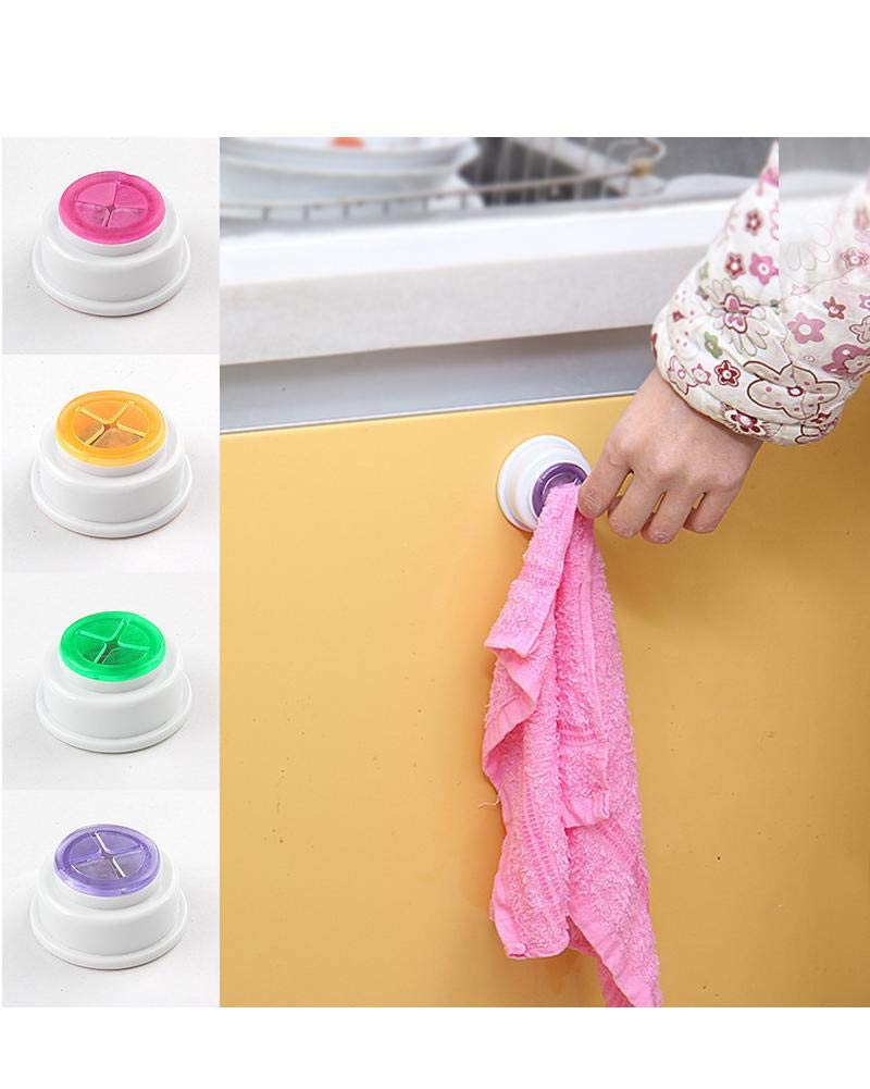 Iseedy 8 Pcs Self-Adhesive Back Wash Cloth Dishcloth Holder Rag Holder Rubber Push-in Wall Mounted Towel Rack Click Towel Holder for Kitchen//Bathroom Accessory