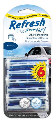 Refresh Your Car Odor Eliminating Auto Vent Stick Car and Home Air Freshener, New Car/Cool Breeze Scent, 6 Sticks