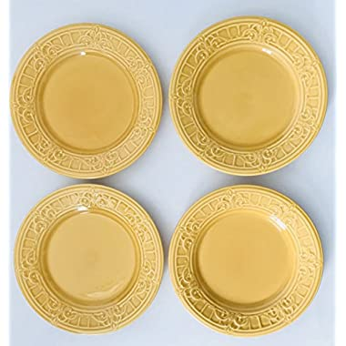 Golden Yellow With Raised Design Ceramic Plate | Made In Portugal | Set of 4 Lunch & matceramica | Compare Prices on GoSale.com