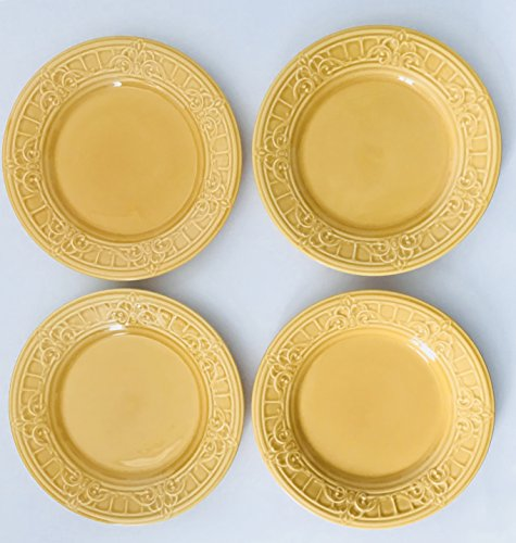 Golden Yellow With Raised Design Ceramic Plate | Made In Portugal | Set of 4 Lunch | Salad | Dessert Plates | 9.5 inches  sc 1 st  Information.com & Best Deals on Matceramica Plates Products
