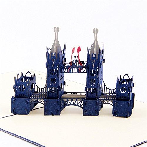 UNIQUEplus TOWER BRIDGE di Londra 3D Pop UP-Biglietto di auguri per compleanno Kirigami biglietti regalo, motivo: 'o qualsiasi occasione motivo: o qualsiasi occasione Nepsource NPS120