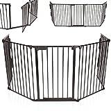 KIDUKU® Kaminschutzgitter Metall Laufgitter Laufstall Absperrgitter Türschutzgitter für Kinder-Sicherung, 310 cm Länge, schwarz