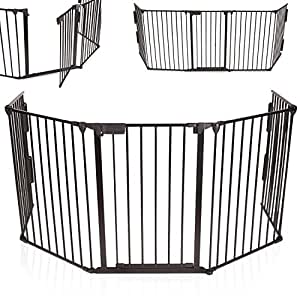 KIDUKU® Barrera de seguridad Reja de protección Quitafuegos para chimenea parque para niños corralito, longitud de 300 cm, negro