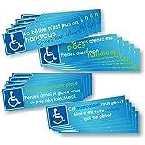 Autocollants Place réservée Handicapé - Pack de 4 versions différentes - Lot de 20 (4 x 5 autocollants)
