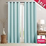 light blue bedroom decor - Moderate Blackout Curtains for Bedroom 63 inches Long Light Reducing Window Curtain Panels for Kids Room Darkening Thermal Insulated Drapes, Grommet Top, 2 Panels, Sky Blue