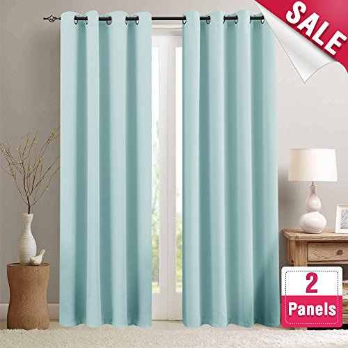 Blackout Curtains for Kids Room Darkening Window Curtain Panels for Living Room 84 inches Long Light Blocking Triple Weave Drapes Grommet Top Window Curtains for Bedroom, 2 Panels, Sky Blue