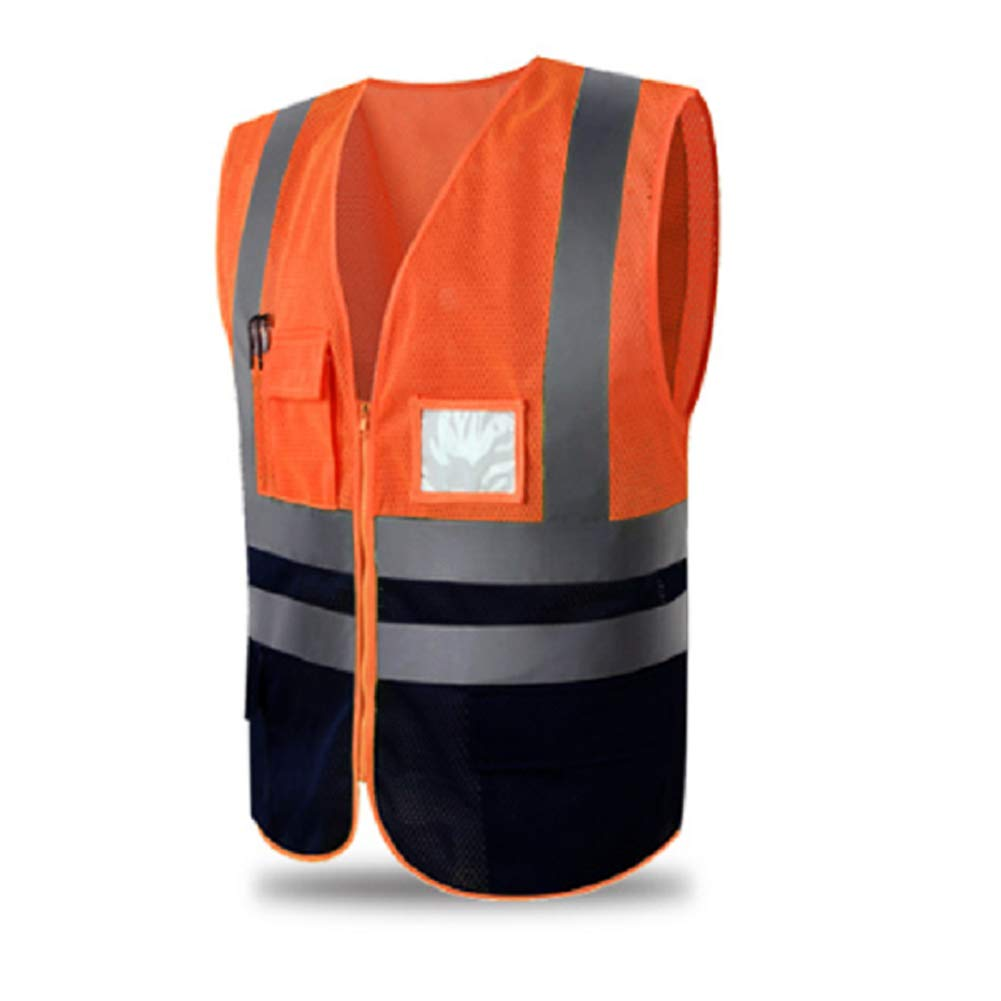 Hycoprot Chaleco de seguridad Reflectante Alta visibilidad Ropa de trabajo Gerente ejecutivo Chaqueta de chaleco Cremallera Brace Seguridad Tel/éfono m/óvil Titular de ID de bolsillo-M