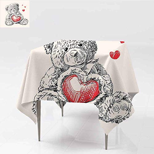 Jbgzzm Doodle Oil-Proof and Leak-Proof Tablecloth Detailed Teddy Bear Drawing with Heart Instead of a Belly Mini Floating Hearts for Kitchen Dinning Tabletop Decoration W63 xL63 Red Black White ()