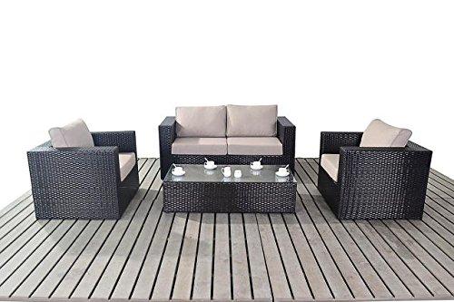 moderne kleine rattan garten sofa set 2 sitzer sofa mit 2 sesseln und glas couchtisch dicke. Black Bedroom Furniture Sets. Home Design Ideas