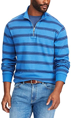Chaps Mens Great Lake Blue 1/4 Zip Reversible Pullover Sweater XXL ()