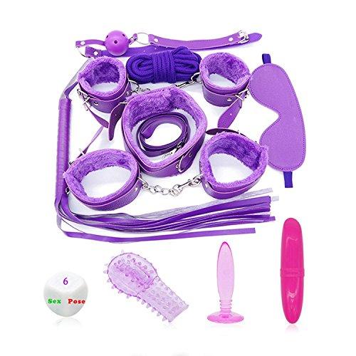 Bundle Toys Bondage Set Whip Handcuffs Footcuffs Anal Plug Vibrator P-Enis Adult Game Erotic Toy Fetish Sex Toy(11pcs) Tshirt,Purple -