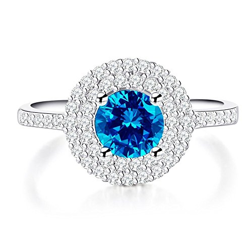 AndreAngel Women Ring White Gold/Top Quality Blue Cubic Zirconia Lab Diamond Carat AAA+ Princess Cut/Bridal Birthday Dating Gift Anniversary Promise Engagement or Wedding Size 7 Mother's Day by AndreAngel