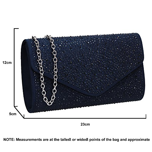 Cadence Suede Clutch SWANKYSWANS Navy Diamante Bag Blue Womens Ladies Envelope Rdwqwa