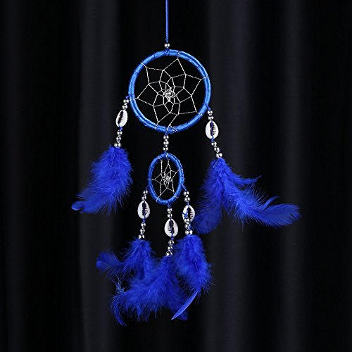 Blue Lovely Handmade Dream Catcher Net Shell Bead Real Feather Home Hanging Decoration Car Ornament 3.15Diameter 15.75Long