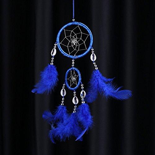 Blue Lovely Handmade Dream Catcher Net Shell Bead Real Feather Home Hanging Decoration Car Ornament 3.15Diameter 15.75Long