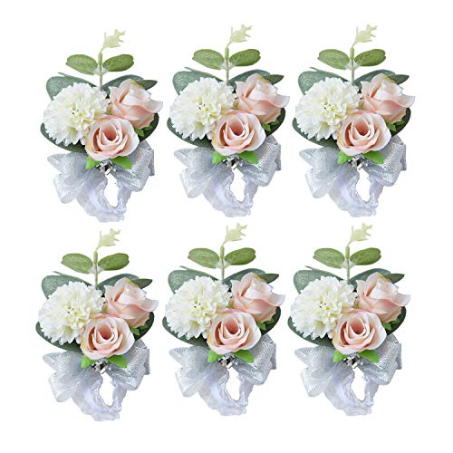 (Pauwer Wrist Corsage Set of 6 Girl Bridal Bridesmaid Wrist Corsage Hand Flower Wedding Prom Party (A Corsage Set of 6))