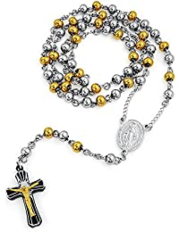 Mens Crucifix Cross Rosary Gold Plated Necklace 26 Inches