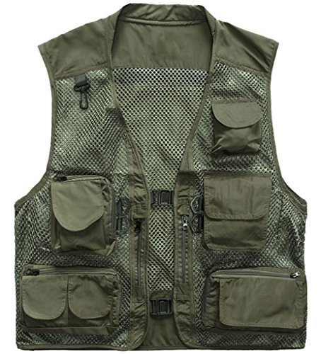 Price comparison product image Fangfang Men's Mesh Fishing Vest Multi Pockets Photography Outdoor Jacket Coat (M, Army Green)