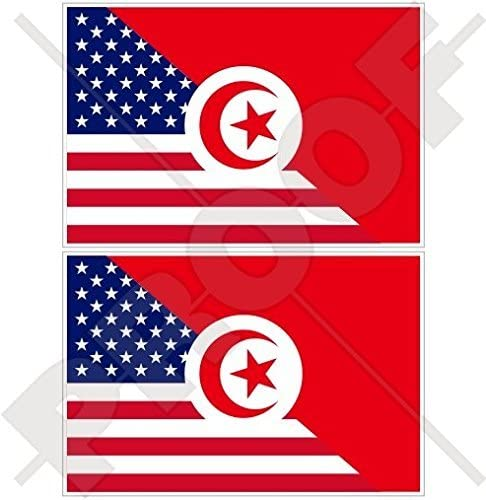 Amazon Com Usa United States Of America Tunisia American Tunisian Flag 3 75mm Vinyl Bumper Stickers Decals X2 Kitchen Dining