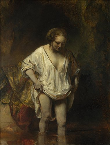 Oil Painting 'Rembrandt A Woman Bathing In A Stream (Hendrickje Stoffels) ' Printing On Perfect Effect Canvas , 8 X 11 Inch / 20 X 27 Cm ,the Best Hallway Gallery Art And Home Decor And Gifts Is This Vivid Art Decorative Prints On Canvas