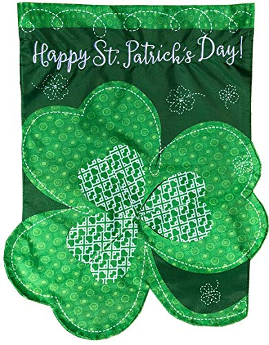 Briarwood Lane Shamrock St. Patrick's Day Applique House Flag Clover Sculpted 28