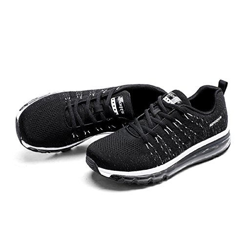 tqgold Mens Womens Trainers Running Shoes Gym Fitness Sports Shoes Athletic Sneakers (Black,Size 5)