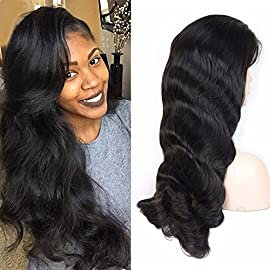 AM Youth Lace Front Wigs Human Hair 130% Density Brazilian Virgin Hair Body Wave Wig with Baby Hair for Black Women #1B 14inch
