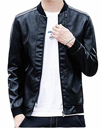 (BuZaiYouYu Men Stand Collar Moto Biker Faux Leather Jacket BlackUS XX-Large Fashion)