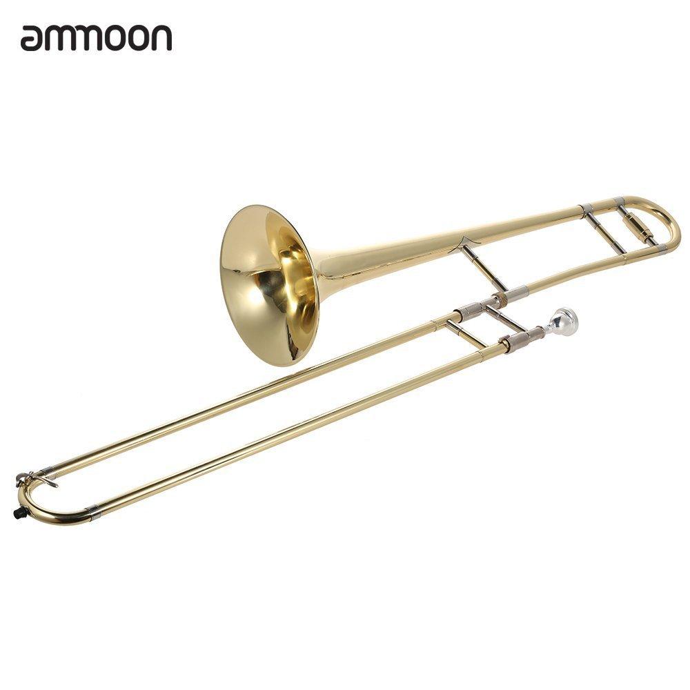 ammoon アルトトロンボーン ブラスゴールドラッカー BbトーンBフラット 管楽器 初心者入門セット マウスピース ケース付き   B01DGAG5VI