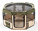 "Pawer 45""×24"" 8-Panel Foldable Pet Playpen, for Small Medium Large Cat/Dog/Puppy, Big Size, Olive+Beige, 600D Oxford Cloth Portable Indoor & Outdoor Kennel with Carry Bag"