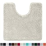 Gorilla Grip Original Shaggy Chenille Oval U-Shape Contoured Mat for Base of Toilet, 22.5x19.5 Size, Machine Wash and Dry, Soft Plush Absorbent Contour Carpet Mats for Bathroom Toilets, Ivory Cream