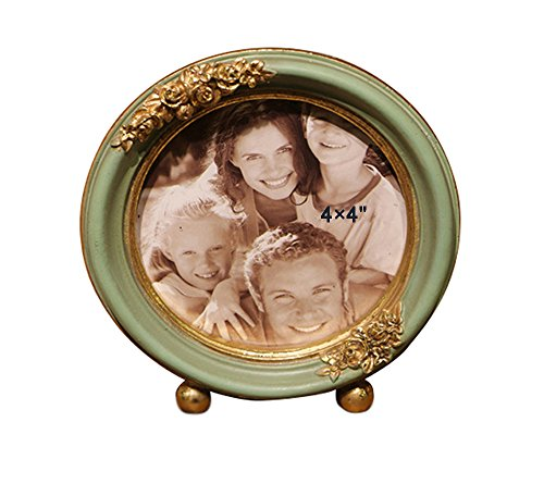 (SIKOO Vintage Round Picture Frame 4x4 Baby or Family Tabletop Photo Frame Antique Home Decor,  Green)