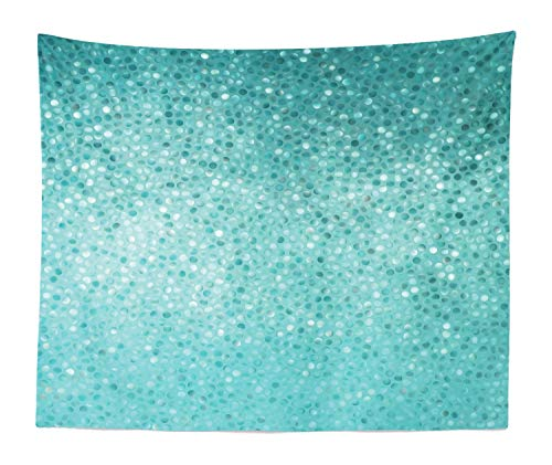 Ambesonne Turquoise Tapestry King Size, Small Dot Tiles Shape Simple Classical Creative Artful Design, Wall Hanging Bedspread Bed Cover Wall Decor, 104 W X 88 L Inches, Turquoise Seafoam and Teal