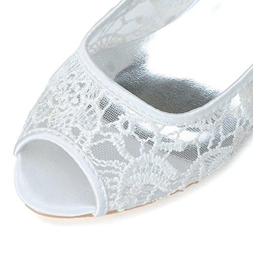 cm Heel Toe S0700 Spitze Party Frauen 3 5 Größe Elobaby Handarbeit Peep Gericht Schuhe Schuhe Hochzeit g7nPU