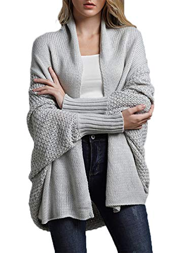 HZSONNE Women's Casual Long Bat Wing Sleeve Open Front Cardigan Chunky Sweater