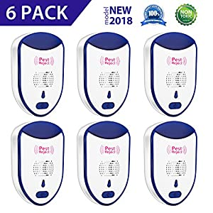 MOTKEN Ultrasonic Pest Repeller Plug in Mouse Control Device Indoor Electronic Pest Repellent Kits Repels Mice, Rats, Roaches, Flies, Mosquitoes & Spiders Human & Pets Friendly (6 Pack)