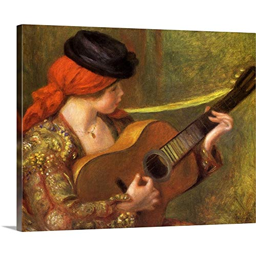 (GREATBIGCANVAS Gallery-Wrapped Canvas Entitled Young Spanish Woman with a Guitar by Pierre Auguste (1841-1919) Renoir 36