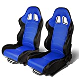 Set of 2 Universal Double Stitch Type-R PVC Leather Reclinable Racing Seats w/ Sliders (Black/Blue)