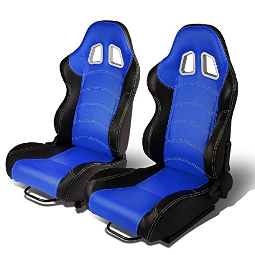 Racing Spec Universal - Set of 2 Universal Double Stitch Type-R PVC Leather Reclinable Racing Seats w/Sliders (Black/Blue)