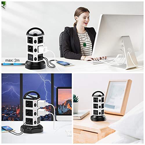 bedee Regleta Vertical Torre sobretensión de 10 Tomas Corrientes y 4 Rápida USB Tomas, Cable de 2M Toma de Corriente con Protector Sobrevoltaje y Sobretensiones, 2500 W Tapón de Seguridad