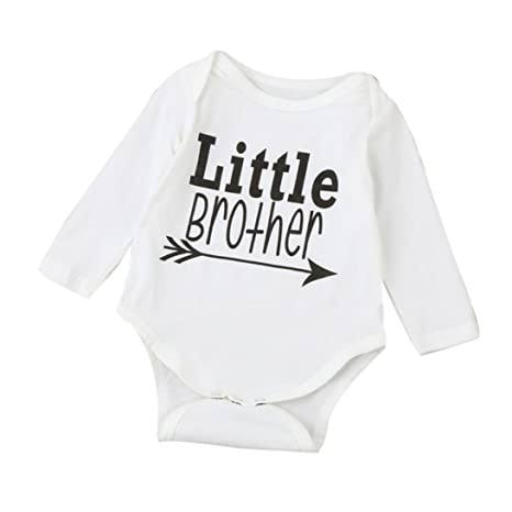 "chshe bebé Pelele bebé recién nacido infantil ""Little Brother"" impreso mezcla de algodón"