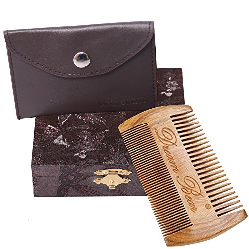 DREAM BEAR® 100%Handmade Green Sandalwood Comb,Double Different Densities Beard Comb,Natural Fragrance,no Static,Use for Mustache & Hair+(perfect Giftbox Packaging).