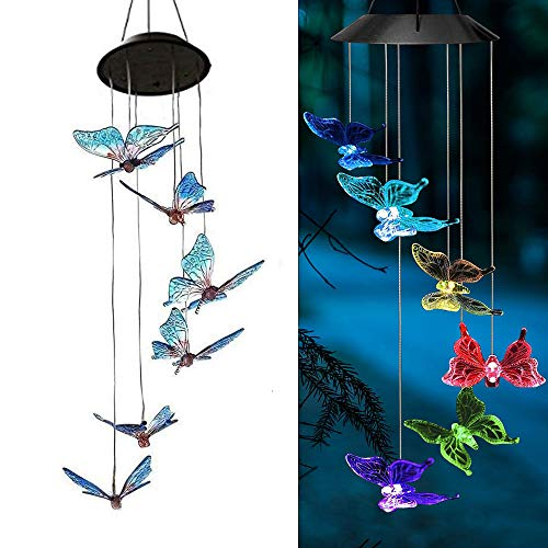 - AVEKI Solar Wind Chimes Outdoor, Color-Changing Solar Mobile Wind Chime Waterproof Solar Powered LED Hanging Lamp for Outdoor Garden Festival Decoration (Butterfly)