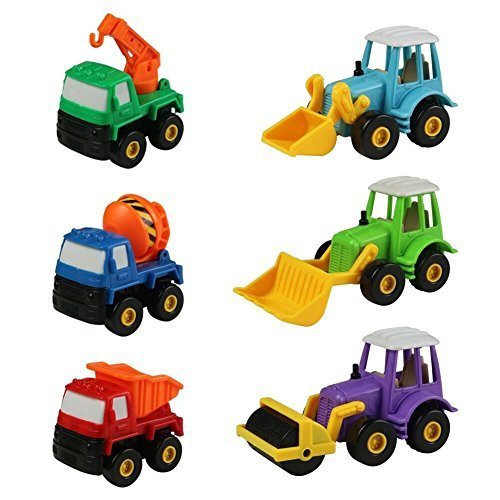Car Toy Construction Vehicles Set Pull Back Cars Colorful Truck Vehicles with Forklift Roller Bulldozer Crane Mixer Dumpers for Kids Boys 6PCS
